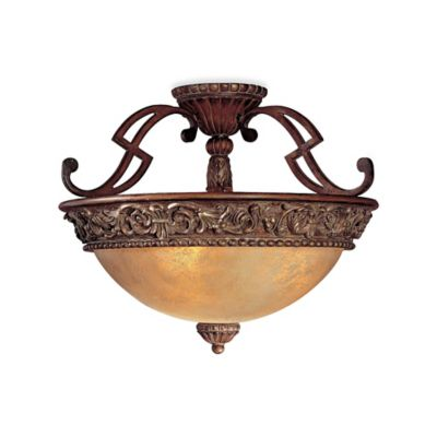 Minka Lavery® Belcaro 3-Light Semi-Flush Mount in Walnut with Glass Shade