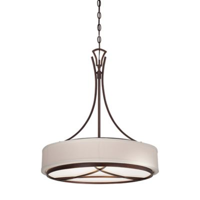 Minka Lavery® City Club 3-Light Pendant in Brushed Bronze with Seeded Glass Shade