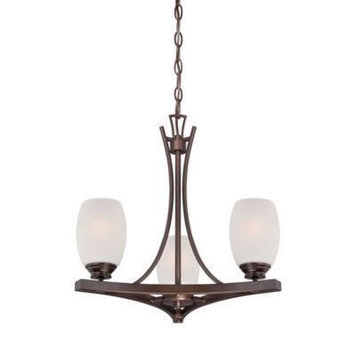 Minka Lavery® City Club 3-Light Mini Chandelier in Brushed Bronze with White Seeded Glass Shade