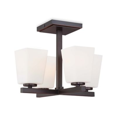 Minka Lavery® City Square 4-Light Semi-Flush Mount Ceiling Fixture in Bronze with Glass Shade