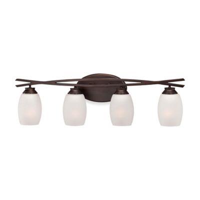 Minka Lavery® City Club 4-Light Wall-Mount Bath Fixture in Brushed Bronze with Glass Shade