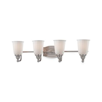 Minka Lavery® Clairemont 4-Light Wall-Mount Bath Fixture in Brushed Nickel with Glass Shade