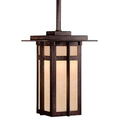 Minka Lavery® Delancy™ 1-Light Outdoor Pendant in Iron with Glass Shade