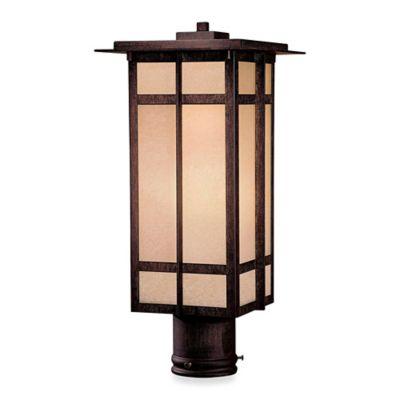 Minka Lavery® Delancy™ 17.75-Inch 1-Light Post-Mount Outdoor Lantern in Iron