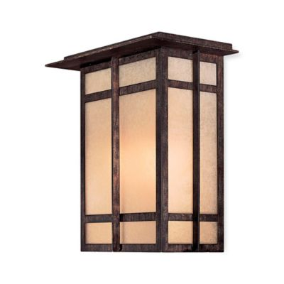 Minka Lavery® Delancy™ 2-Light Wall-Mount Pocket Lantern in Iron with Glass Shade