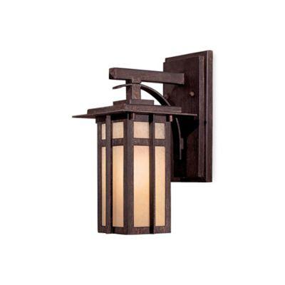 Minka Lavery® Delancy™ 12.25-Inch 1-Light Wall-Mount Outdoor Lantern in Iron