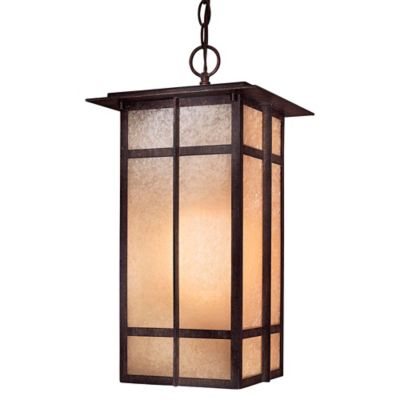 Minka Lavery® Delancy™ 1-Light Chain Hung Outdoor Lantern in Iron with Glass Shade