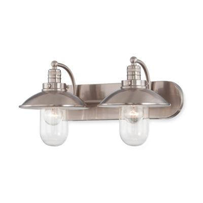 Minka Lavery® Downtown Edison 2-Light Wall-Mount Bath Fixture in Brushed Nickel with Glass Shade