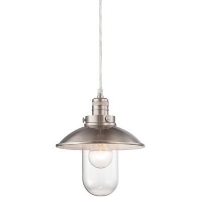 Minka Lavery® Downtown Edison 1-Light Mini Pendant in Brushed Nickel with Glass Shade