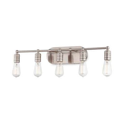Minka Lavery® Downtown Edison 5-Light Wall-Mount Bath Fixture in Brushed Nickel with Glass Shade