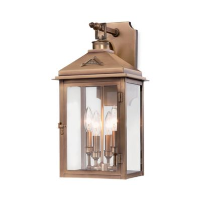 Minka Lavery® Eastbury 1-Light Wall-Mount Outdoor Lantern in Brass with Glass Shade