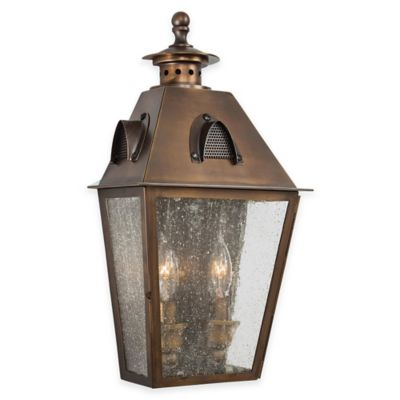 Minka Lavery® Edenshire 2-Light Wall-Mount Outdoor Pocket Lantern in Brass with Glass Shade