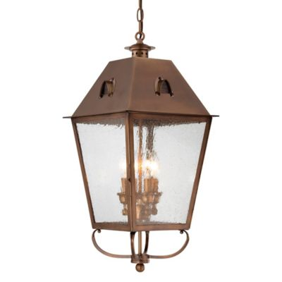 Minka Lavery® Edenshire 4-Light Chain Hung Outdoor Lantern in Brass with Glass Shade