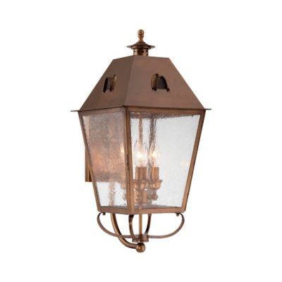 Minka Lavery® Edenshire 26-Inch 4-Light Wall-Mount Outdoor Lantern in English Brass