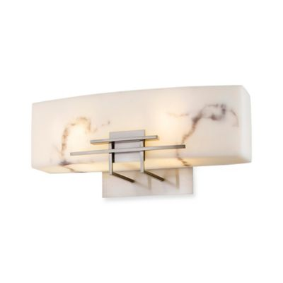 Minka Lavery® 2-Light Wall-Mount Bath Fixture in Brushed Nickel with Alabaster Dust Shade