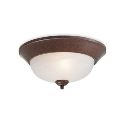 Minka Lavery® 2-Light Flush-Mount Ceiling Fixture in Antique Bronze with Glass Shade
