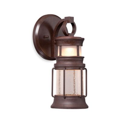 Minka Lavery® Garreston Pointe 12.25-Inch 1-Light Wall-Mount Outdoor LED Lantern in Bronze