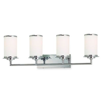 Minka Lavery® Glass Note™ 4-Light Wall-Mount Bath Fixture in Chrome with Glass Shade