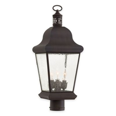 Minka Lavery® Glen Allen 3-Light Post-Mount Outdoor Lantern in Bronze with Glass Shade