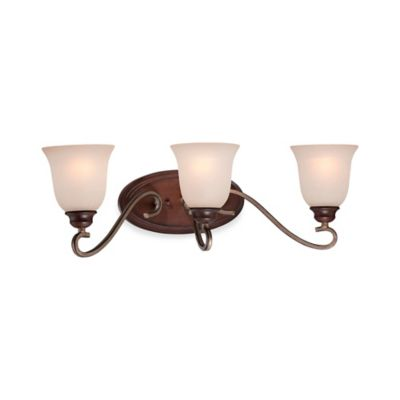 Minka Lavery® Gwendolyn Place 3-Light Wall-Mount Bath Fixture in Sienna with Glass Shade