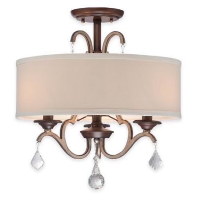 Minka Lavery® Gwendolyn Place 3-Light Semi-Flush Mount Ceiling Fixture in Sienna w/Linen Shade