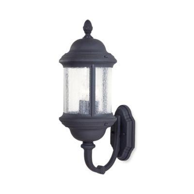 Minka Lavery® Hancock™ 23.5-Inch 3-Light Wall-Mount Outdoor Lantern in Black w/Glass Shade
