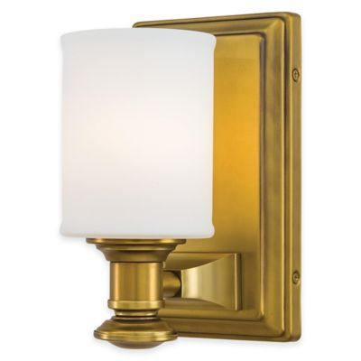 Minka Lavery® Harbour Point Wall-Mount Bath Fixture in Gold with Etched Opal Glass Shade