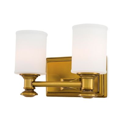 Minka Lavery® Harbour Point 2-Light Wall-Mount Vanity Fixture in Gold with Glass Shade