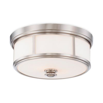 Minka Lavery® Harbour Point 2-Light Flush-Mount Ceiling Fixture in Brushed Nickel w/Glass Shade