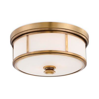 Minka Lavery® Harbour Point 2-Light Flush-Mount Ceiling Fixture in Gold w/Opal Glass Shade