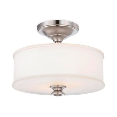 Minka Lavery® Harbour Point 2-Light Semi-Flush Mount Fixture in Brushed Nickel with Glass Shade