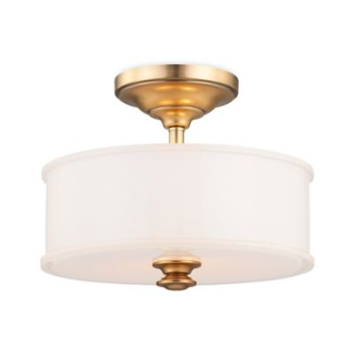 Minka Lavery® Harbour Point 2-Light Semi-Flush Mount Ceiling Fixture in Gold w/Glass Shade