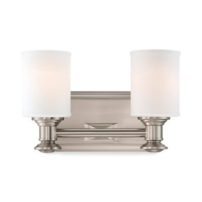 Minka Lavery® Harbour Point 2-Light Wall-Mount Bath Fixture in Brushed Nickel with Glass Shade