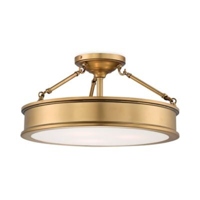 Minka Lavery® Harbour Point 3-Light Semi-Flush Mount Fixture in Gold with Etched Glass Shade
