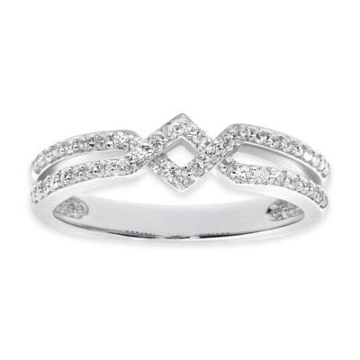 10K White Gold .33 cttw Diamond Size 8 Ladies' Zig Zag Ring