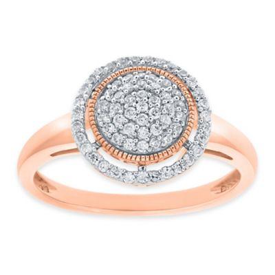 10K Rose Gold .35 cttw Pave Diamond Size 6 Ladies' Round Miligrain Ring