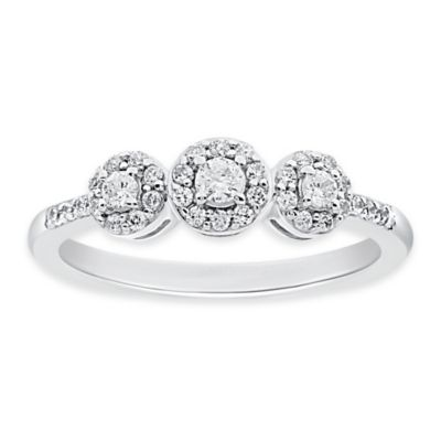 14K White Gold .38 cttw Diamond Size 5 Ladies' 3-Stone Halo Ring