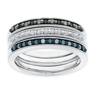 Sterling Silver .35 cttw Black, Blue and White Diamond Size 5 Ladies' Set of 3 Stackable Bands