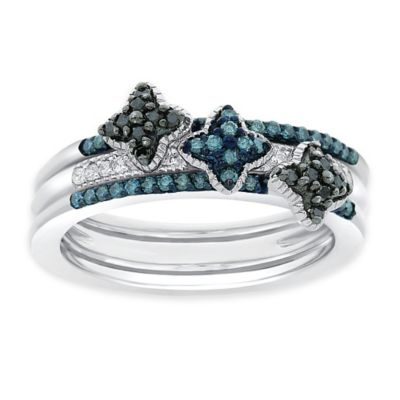 Sterling Silver .35 cttw Blue, Black and White Diamond Size 9 Ladies' Stackable Flower Bands