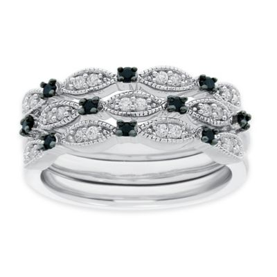 Sterling Silver .33 cttw Black and White Diamond Size 8 Ladies' Stackable Milgrain Bands