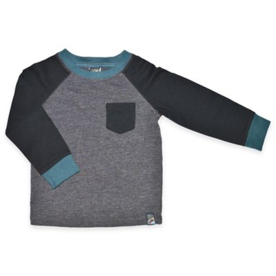 Size 12M Raglan Long-Sleeve Shirt in Black/Grey
