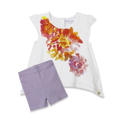 Burt's Bees Baby® Size 0-3M Organic Cotton 2-Piece Floral Tee and Bike Short Set