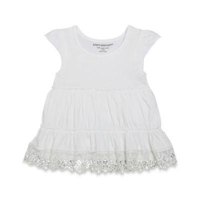 Burt's Bees Baby® Size 6-9M Organic Crochet Trim Tunic in White