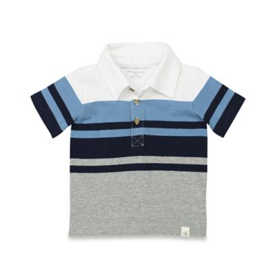 Burt's Baby Bees® Size 6-9M Organic Cotton Engineered Stripe Polo Shirt in Grey/Blue