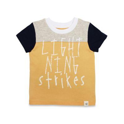 "Burt's Bees Baby® Size 0-3M ""Lightning Strikes"" Shirt in Orange/Navy"