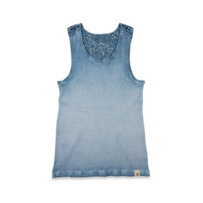 Burt's Bees Baby® Size 24M Sun Bleached Crochet Back Organic Cotton Tank in Sapphire