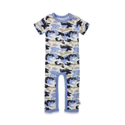 Burt's Bees Baby® Size 0-3M Organic Cotton Distressed Camo Coverall in Navy