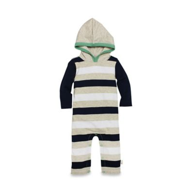 Burt's Bees Baby® Size 18M Organic Cotton Hooded Stripe Coverall in Navy