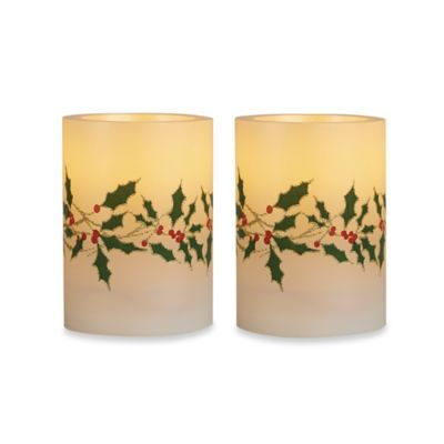 Loft Living Poinsettia Holly Flameless LED Candles (Set of 2)