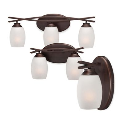 Minka Lavery® City Club 1-Light Wall-Mount Bath Fixture in Brushed Bronze with Glass Shade